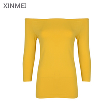 New arrive OEM off shoulder fashion long sleeve sexy women top shirt