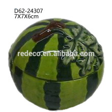 Decorative ceramic kitchen watermelon fruit shape pepper jar with lid
