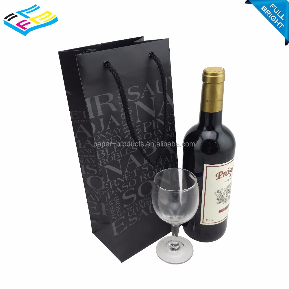 Custom made art craft paper wine bottle paper bags with metal ribbon handle from China supplier