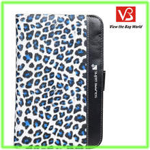 7inch universal PU tablet case with leopard lines card holders