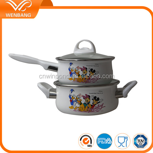 Cast iron enamel coated milk casserole pot set