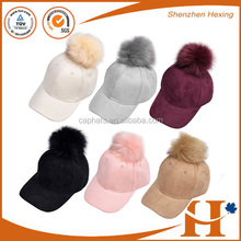Ladies suede/PU leather hat with faux fur pom pom baseball cap for women or men