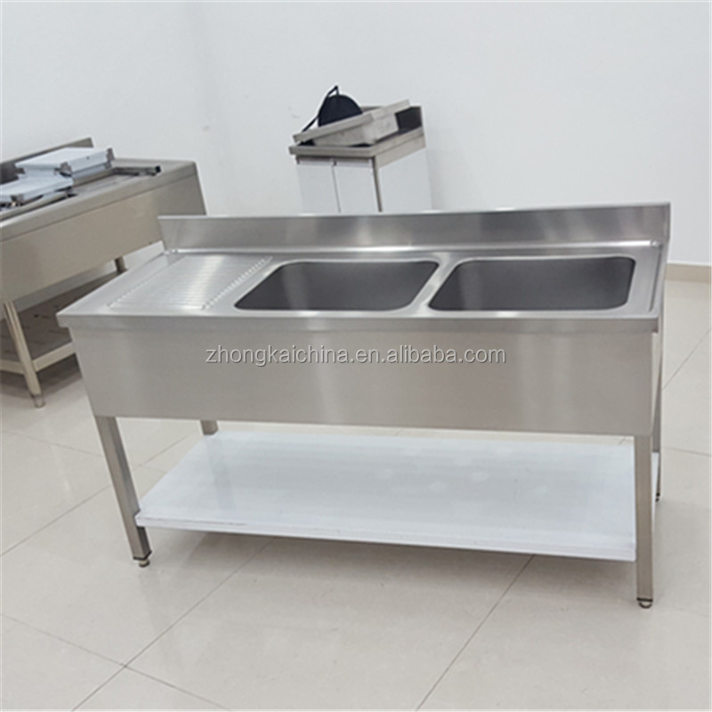 Stainless Steel Commercial Kitchen Double Sink Bench With Under Shelf - Buy  Double Sink Bench With Under Shelf,Stainless Steel Sink Work ...