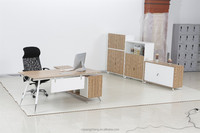 Good Apperence Office Cherry Finished Executive Desk with Side Credenza/ED01