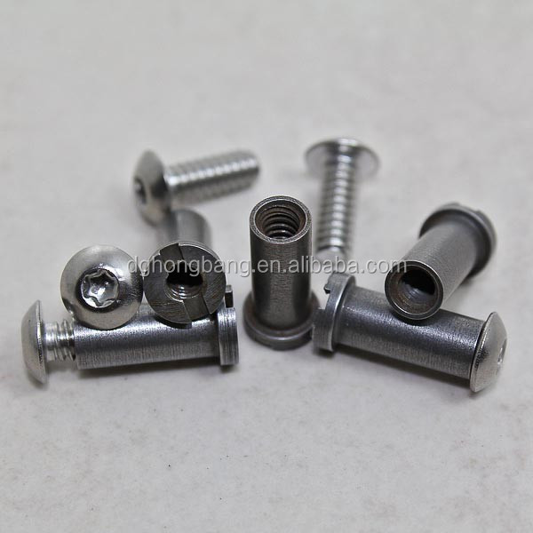 "Chain Ring Bolt 3/16"" Satin Female dia x .50""L 6-32 thread - w/ Screw"