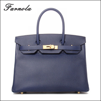 2016 Wholesale fashion large space leather custom blue genuine Leather ladies' handbag at low price