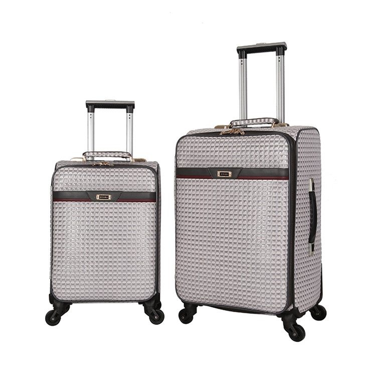 Children travel pu iron trolley luggage bag set
