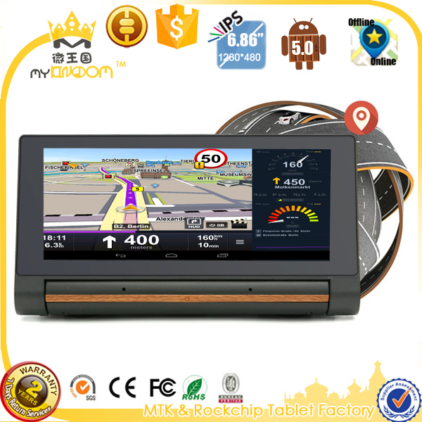 6.86inch Car DVR GPS Navigation directly on vehicle dashboard capacitive android 5 car gps with 3g sim card and Reversing Camera