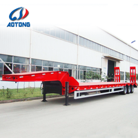 China 2 or 3 axles gooseneck extendable width and length 80ton flat low bed semi trailer truck trailer manufacturer