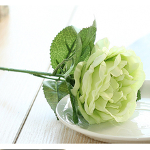 White Wholesale Home Decoration Artificial Single Long Stem Rose Flower for Artificial Wedding Flower Backdrop