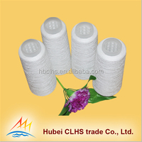 raw white , bleached white polyester yarn , semi-dull or bright fiber 100% polyester spun yarn