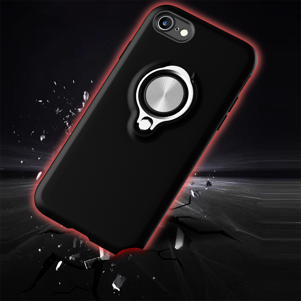 Luxury Shockproof ring holder phone case for iphone X 6s Armor Aluminum Metal Cover Gorilla Glass