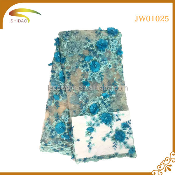 colorful embroideried 3D flower beaded african tulle lace fabrics for evening dress lace