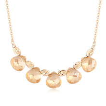 Gold long chain pearl necklace
