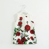 W51606Q 2015 European style girls rose print dress vest skirt children's flower party dress