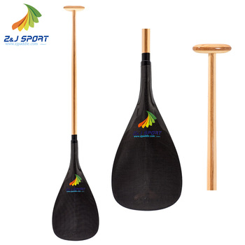 Z&J SPORT High Quality Hybrid Outrigger Canoe Paddle with Single Bent Wood Shaft