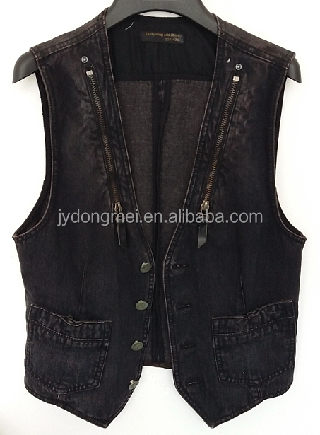 2016 cool women washed black denim waistcoat for Autumn