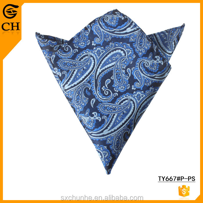 Wholesale 100% Polyester Hand Cashew Embroidery Handkerchief for Men