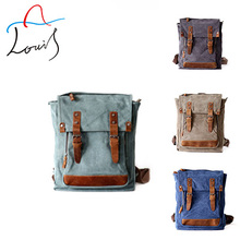 Guangzhou Korean tide cool shoulder bag crazy horse leather bag personality canvas rucksack backpack factory