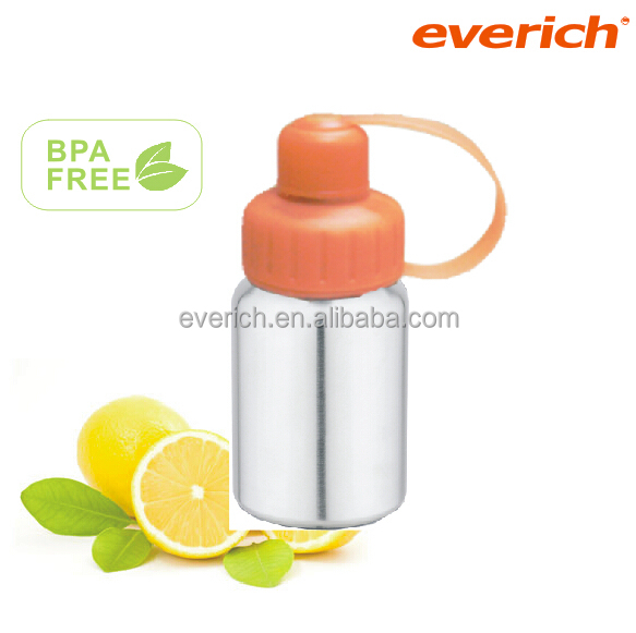 350ML kids single wall stainless steel water bottle with PP two way lid outdoor