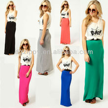 hot selling 100% cotton plaid color maxi long skirt
