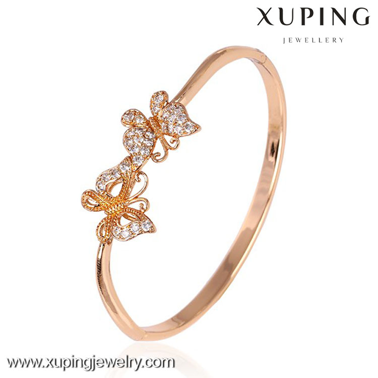 50552 butterfly bangle jewelry, xuping costume rose gold jewelry bangle