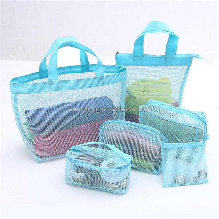 Newest pvc net organizer travel toiletry bag set