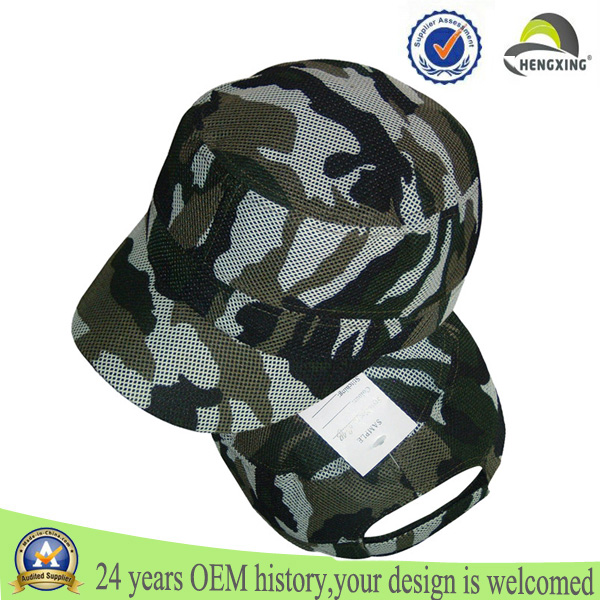 6 Panel Dry Fit Plain Military Mesh Trucker Custom Camo Hat Manufacturers