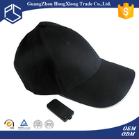 Promotional black color blank baseball cap with built-in led light