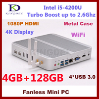 Latest Bulk Intel i5 4200U Dual Core Commercial Used Fanless Mini Desktop PC Micro Computer Models with 4GB RAM 128GB SSD