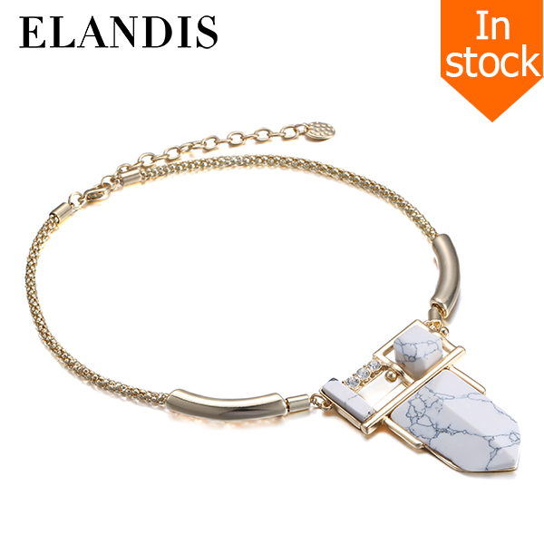 E-ELANDIS Fashion Ladies thin chain Gold Plated turquoise Pendant Necklaces NK197112