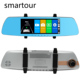 Smartour Car rearview mirror driving recorder double lens 7 inch touch 1080P HD DVR backup drive recorde reverse camera