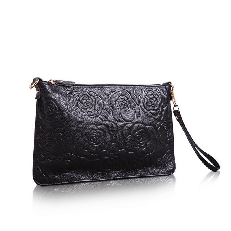 New Rose Embossed Handbag 2015 Lady Evening Clutches Famous Brand Lady Party Envelope Clutch Bags Women Fashion Crossbody Bag