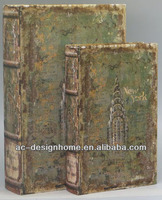 S/2 CANVAS/MDF NEW YORK BUILDING BOOK BOX