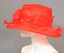 2015 new arrival 100% Sinamay party red organza church hats for ladies