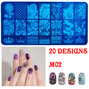 Nail Supplies 12*6cm Big Size Stainless Steel Custom Nail Art Stamping Plates Finger NailArt Beauty DIY Tools With 20 Designs