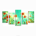 Abstract Flower Painting Giclee Prints 5 Panel Home Wall Decor HD Photo Printed on Canvas Drop-shippment