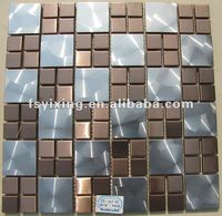 mirror polishe finished effect stainless steel mosaic tiles for wall decoration MS38 is from Foshan China mosaic tiles factory