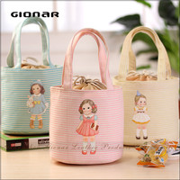 Wholesale Sweet Cute Girl Canvas Kids Lunch Bag with Tin Foil Bag Inside