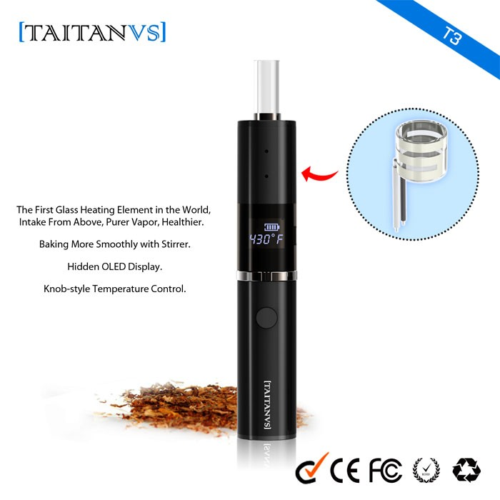 2016 New Arrival best vaporizer herb Taitanvs T3 Pioneer using quartz glass heating element health e cigarette from Buddy