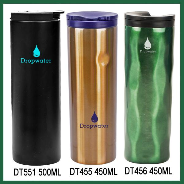 Eco design custom logo plastic lid stainless steel negative ion water bottle