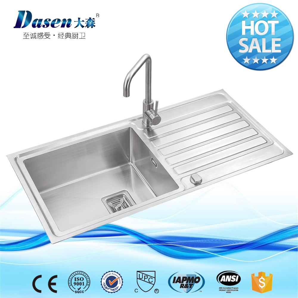 LARGE BATHROOM COUNTERTOP HAND USED COMMERCIAL SINGLE BOWL STAINLESS STEEL KITCHEN SINK