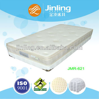 Pocket coil spring mattress with natural latex foam in filling