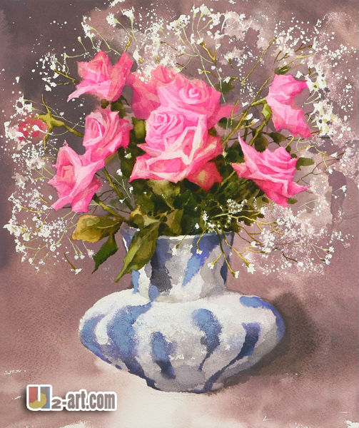 Canvas famous rose painting watercolor paper