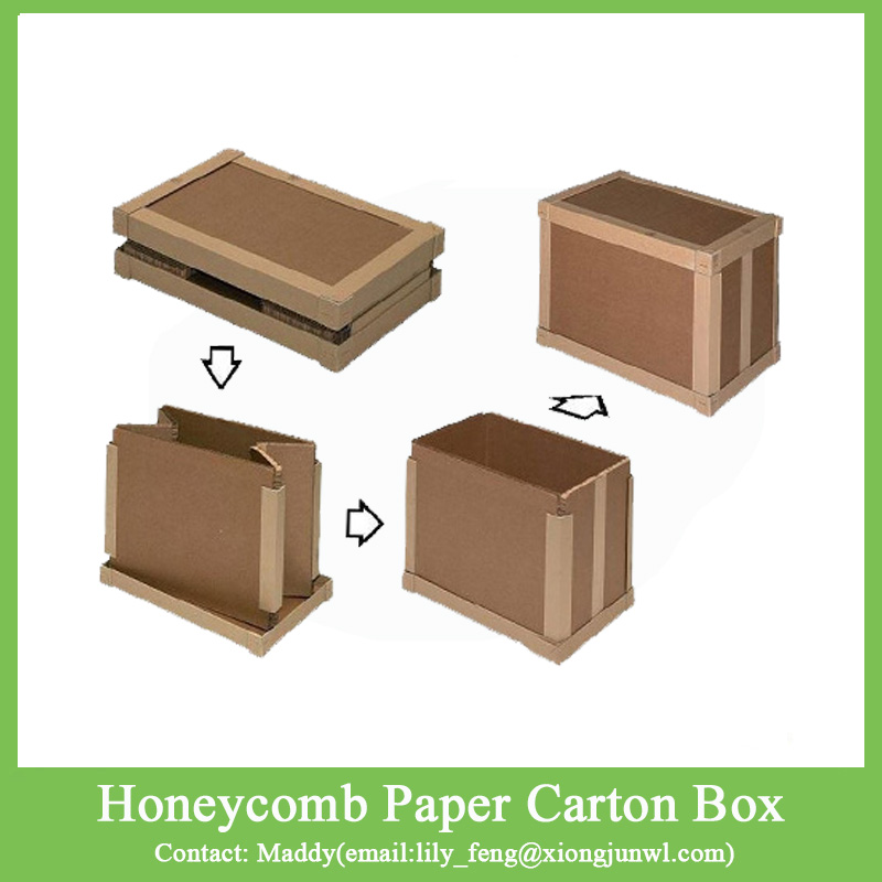 Custom size logo kraft brown paperboard honeycomb paper carton shipping packaging box