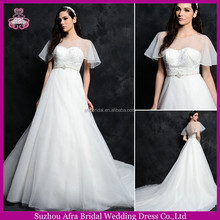 SD1622 new design top organza short sleeve wedding dress with pearl & diamond