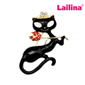 Black Enamel Cat Brooch Pins Pretty Chic Party Jewelry Brooches Crystal Enamel Pins in Gold Plating