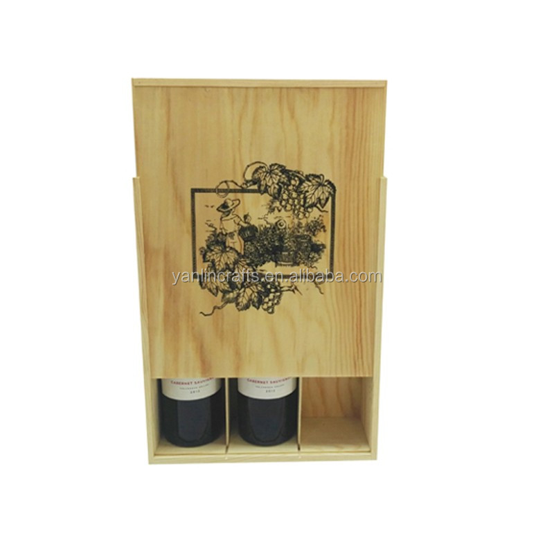 Wholesale handmade recyclable natural color wine boxes 3 bottle wooden wine box for sale