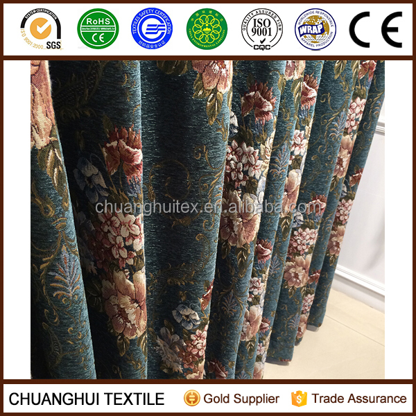 luxury postoral style chenille jacquard curtain fabric for country house