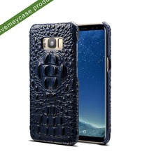 3D rough crocodile grain pattern cowhide genuine leather back cell phone case for samsung galaxy s8/s8 plus